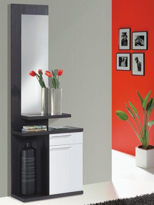 Recibidor con caj n y puerta kendra gris ceniza dise o for Muebles gris moderno