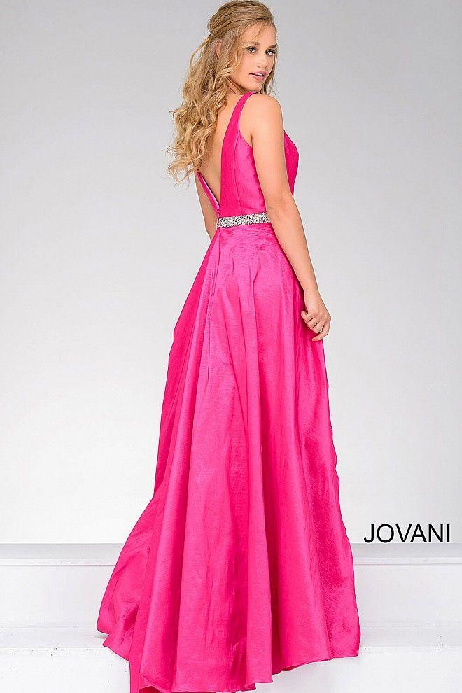 Fuchsia V Neck Embellished Belt Prom Dress 42401   Cool stuff to buy ...