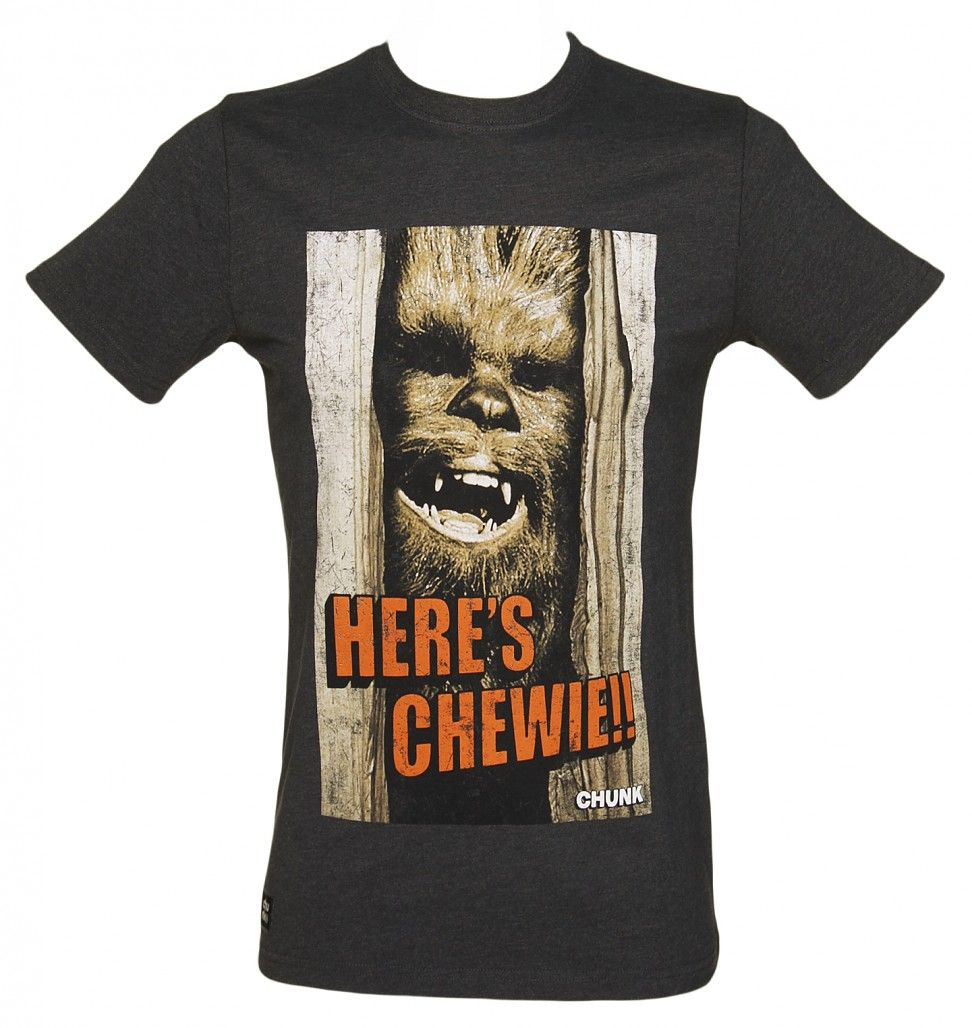 Men's Charcoal Here's Chewie Star Wars T-Shirt From Chunk : TruffleShuffle.com