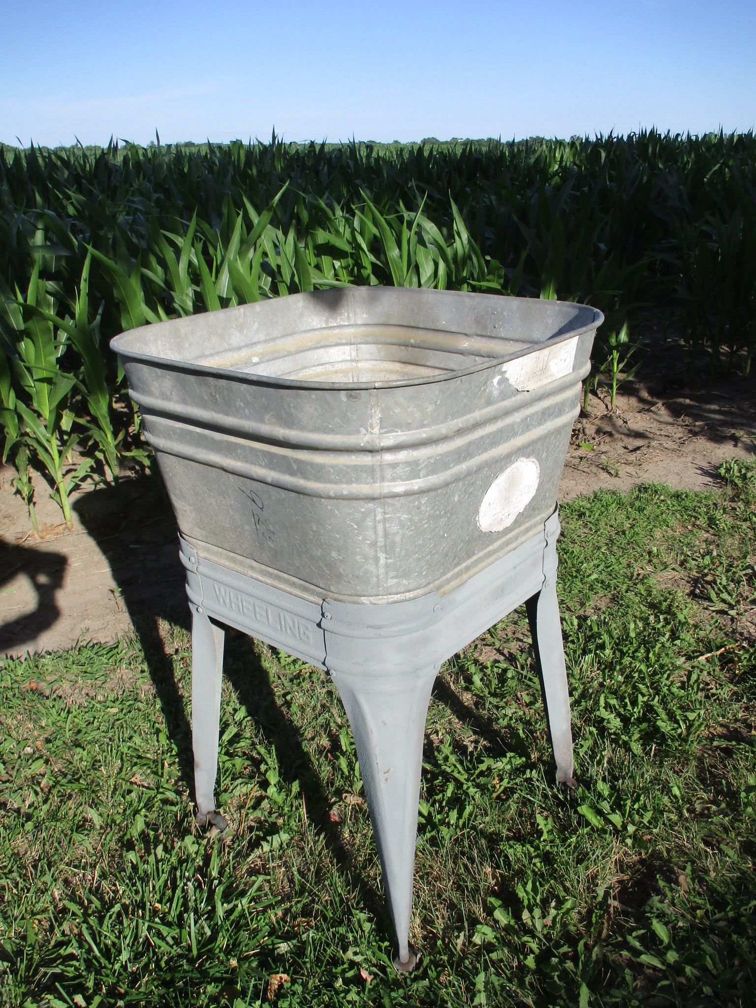 Wheeling Galvanized Single Wash Tub Beer Cooler Flower Pot Plant Stand Bucket Bz Wash Tub Stand Galvanized Wash Tubs Galvanized Wash Tub Galvanized Tub Sink