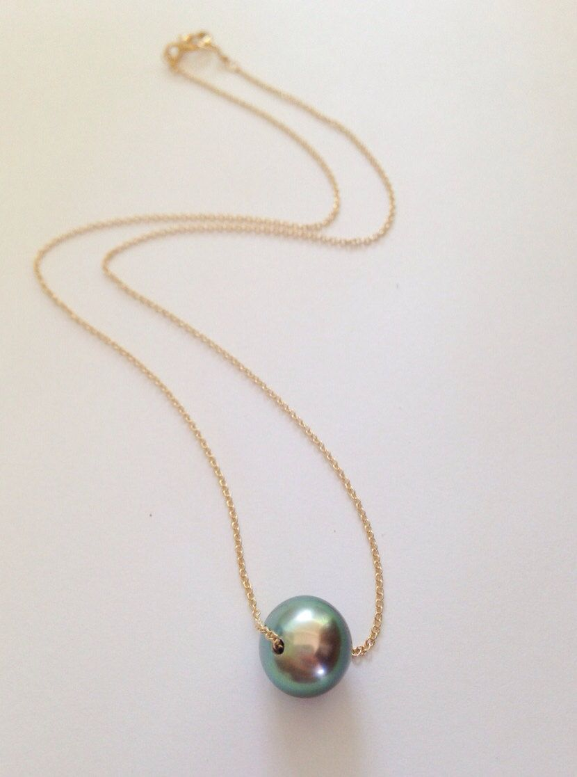 Tahitian Pearl Slider or Floater Necklace by erina808 on Etsy, $78.00