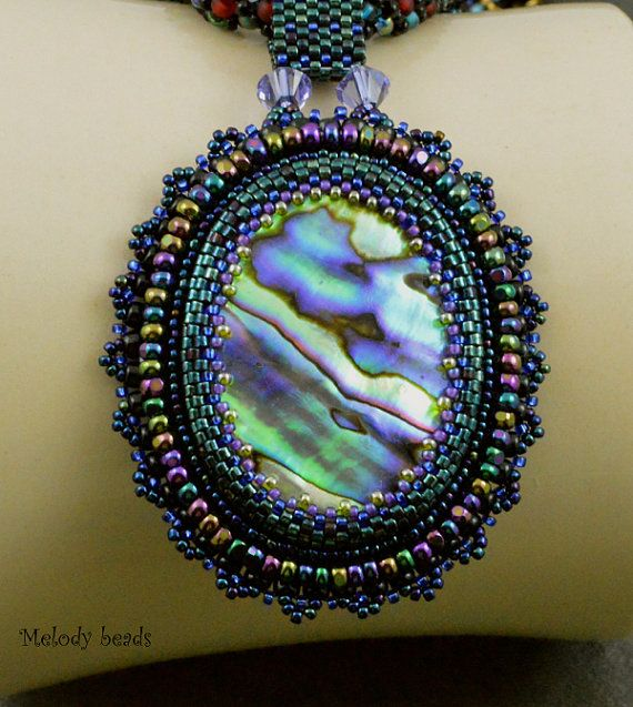 Paua Abalone Shell Pendant and Seed Bead Necklace