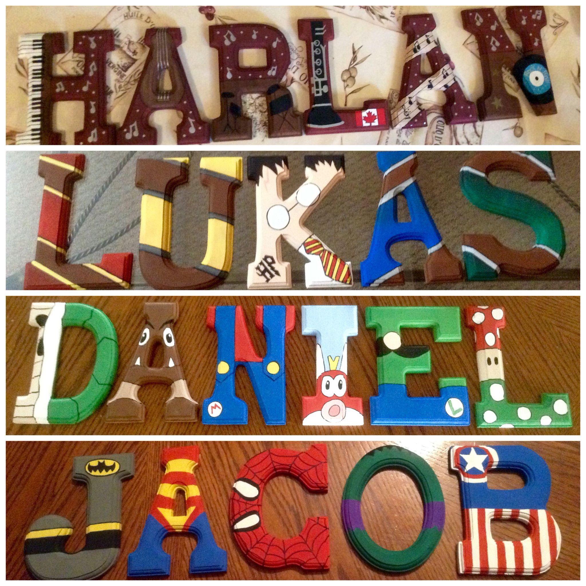 Hand painted wooden letters by Lianne Berube Themes Music Harry