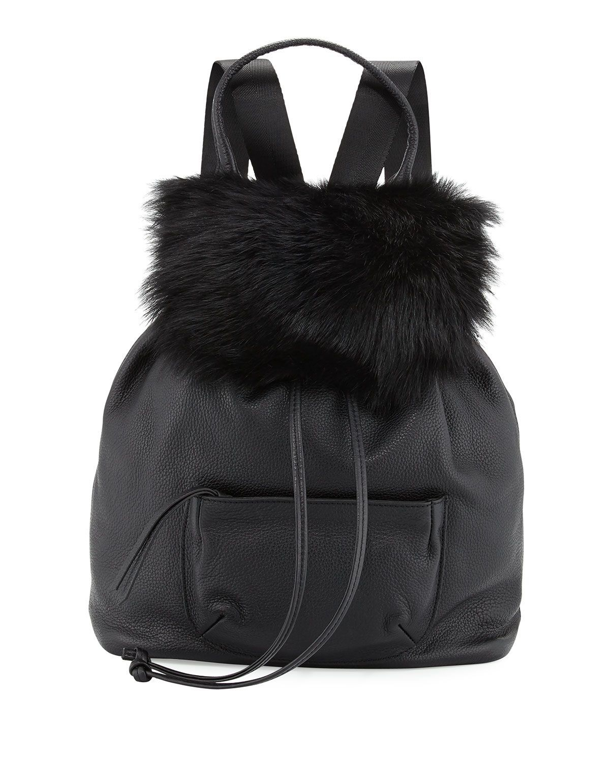 Langley Fur-Flap Leather Backpack, Black