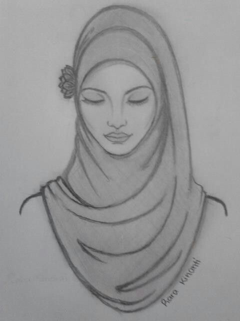 Sketch art · beautiful hijab