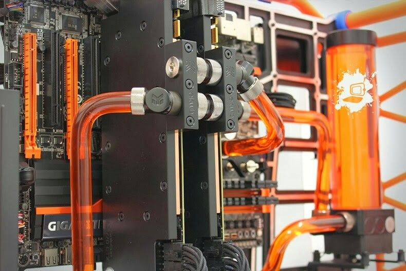 Orange And Black Computer Pc Tower Setup Liquid Cooled Computer
