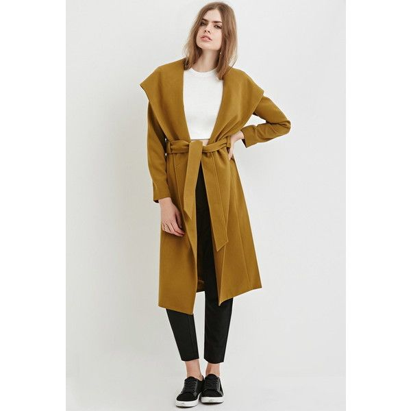 Love 21 Women's  Contemporary Hooded Longline Coat ($55) ❤ liked on Polyvore featuring outerwear, coats, shawl collar coat, long hooded coat, love 21, long sleeve coat and hooded coats