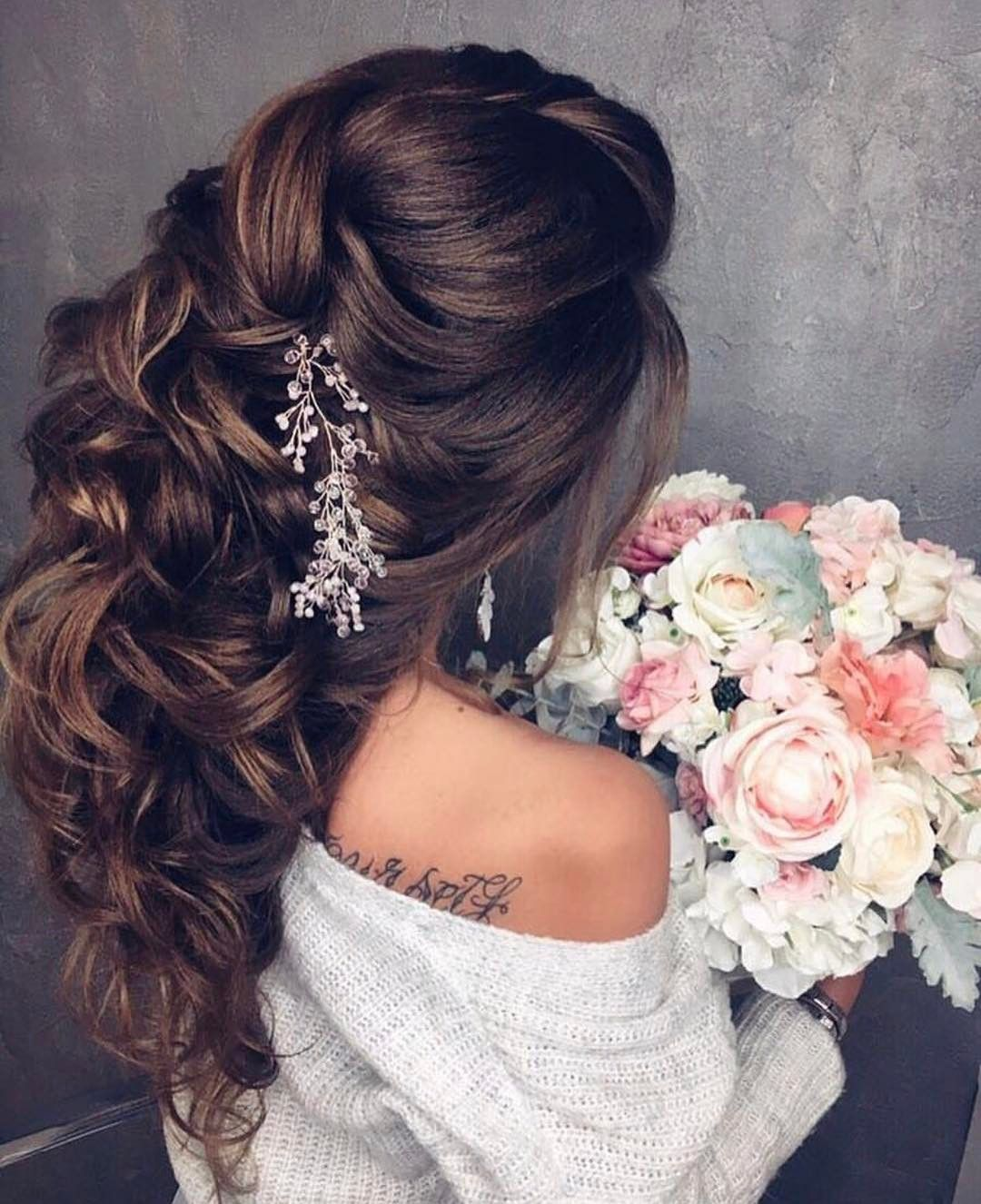 wedding hairstyles | for long hair | with accessories