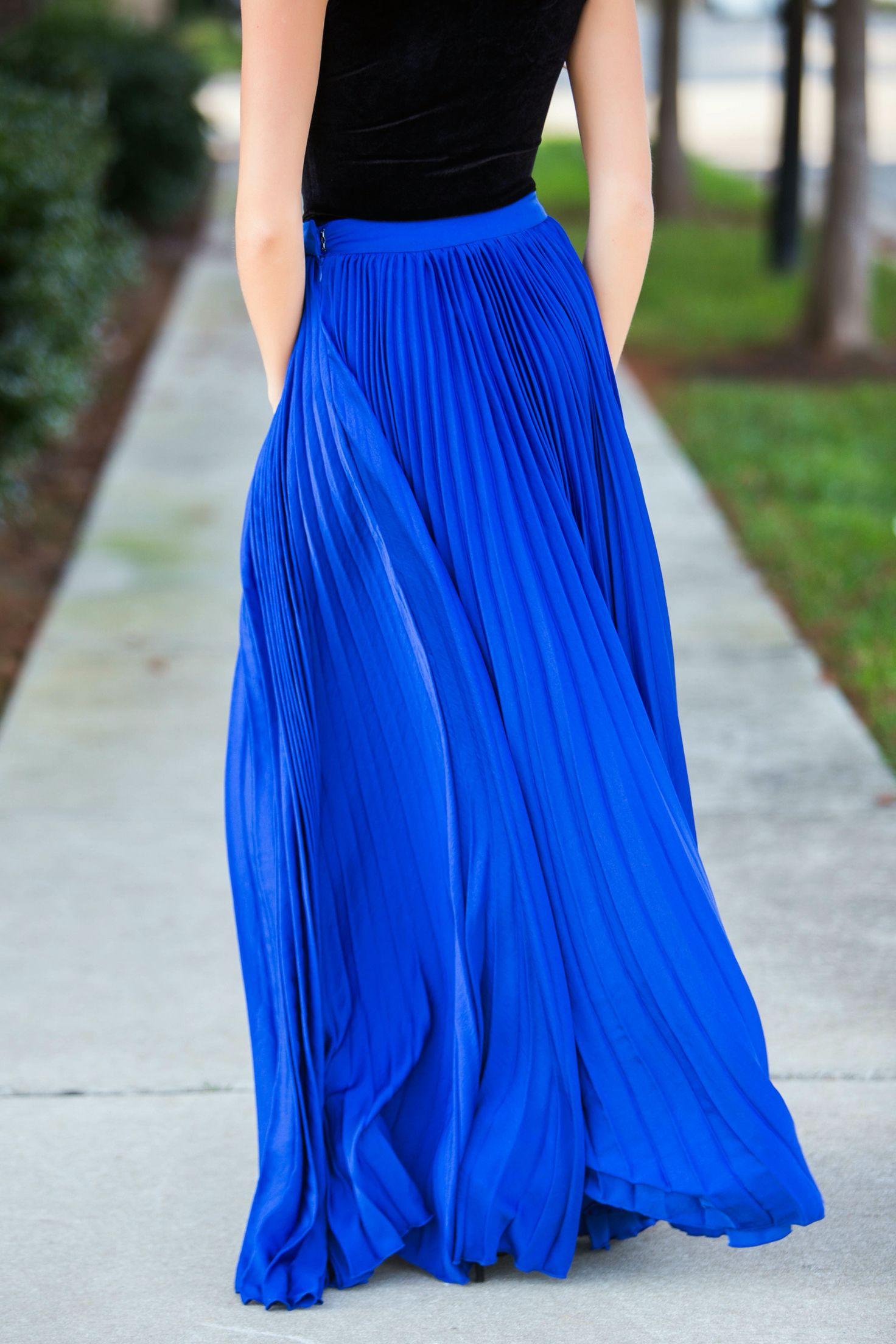 a07546d02c Royal blue pleated maxi skirt #swoonboutique | ✧Dresses ...