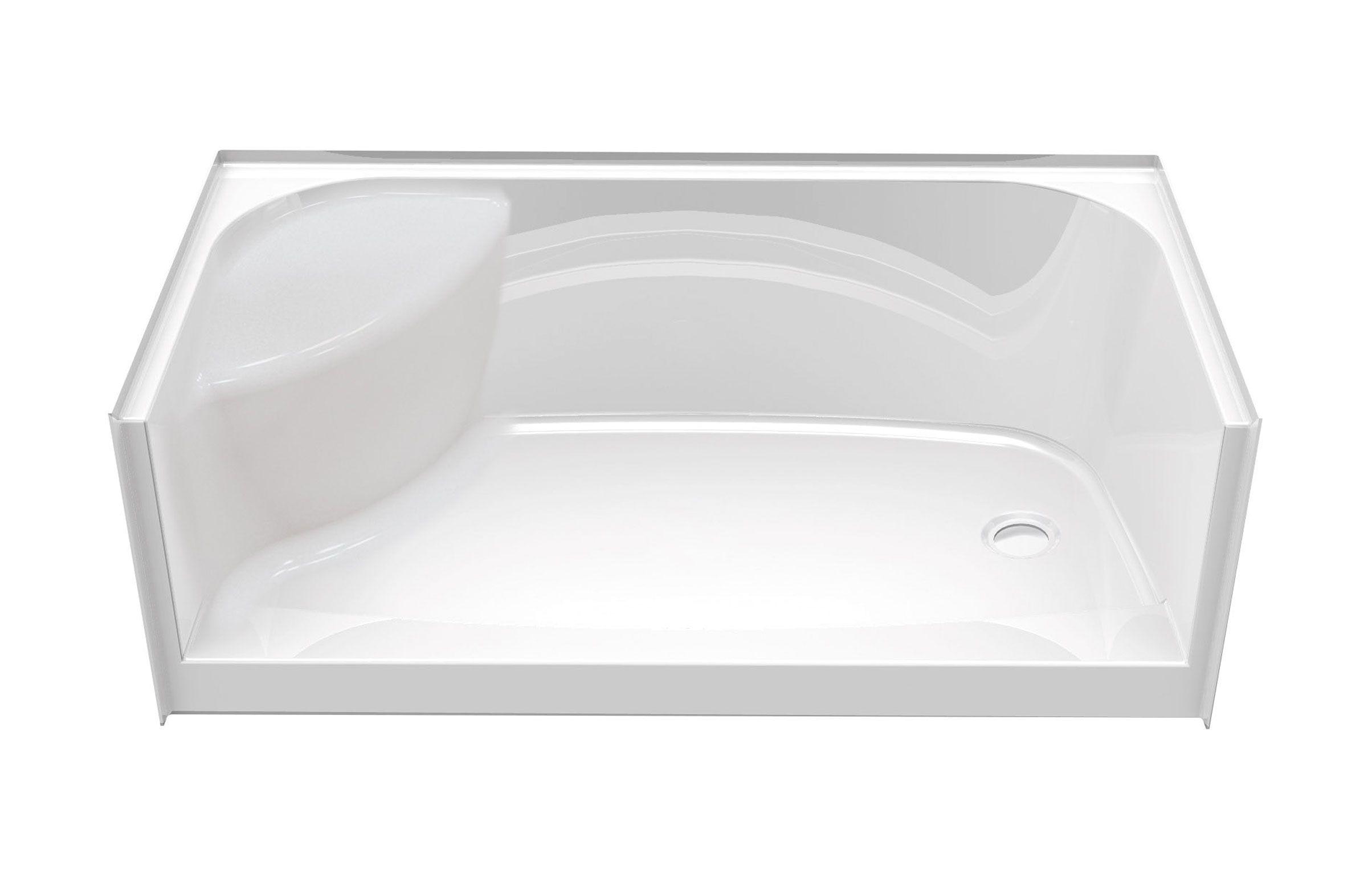 Fiberglass Shower Pan With Bench For Contemporary Bathroom