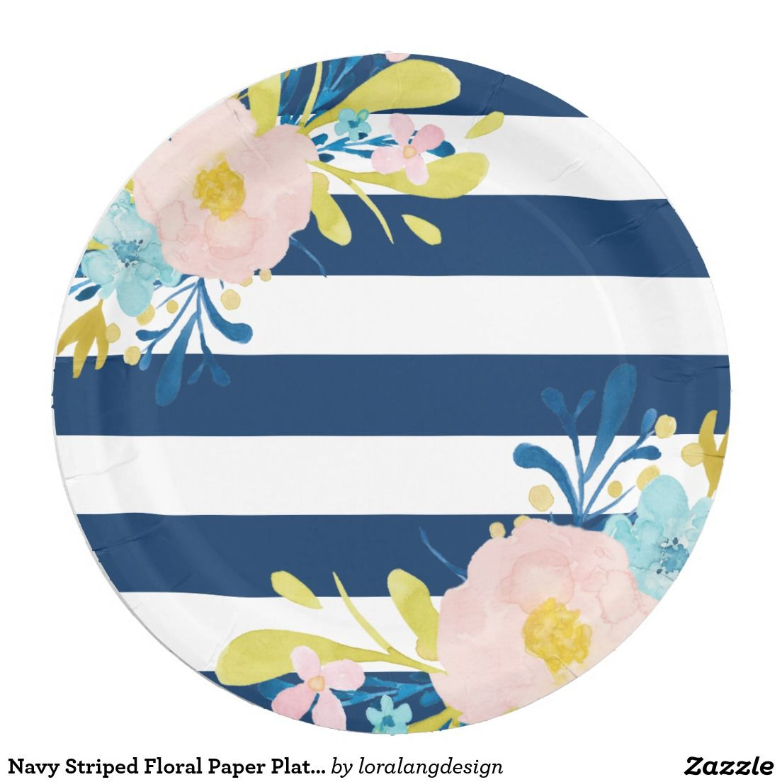 sc 1 st  Pinterest & Navy Striped Floral Paper Plates