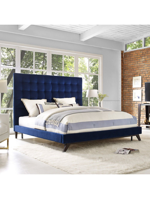 Naeline Bed Navy Upholstered Platform Bed Contemporary Bed