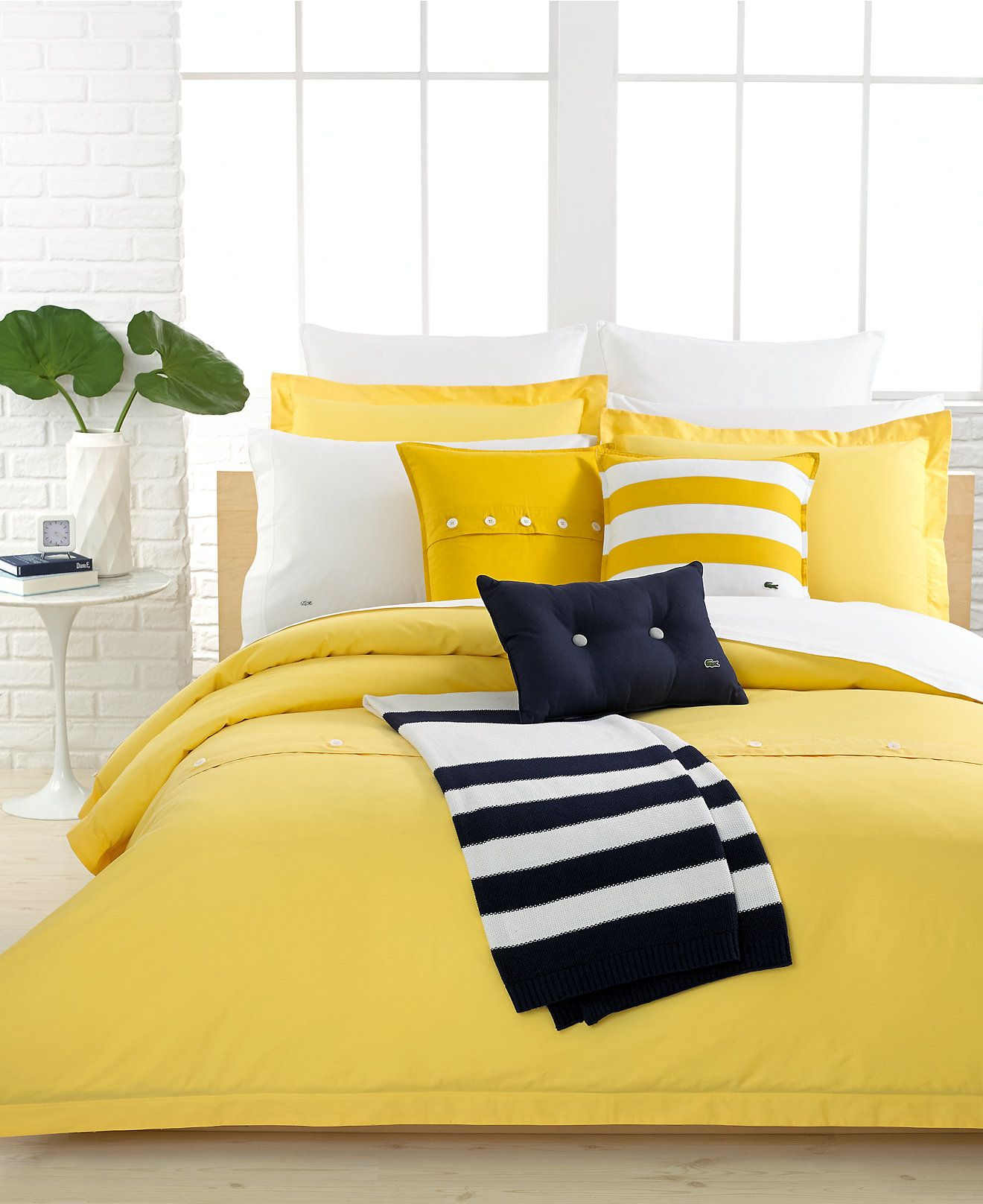 Yellow and black bedding sets - Lacoste Solid Lemon Drop Brushed Twill Comforter And Duvet Cover Sets Bedding Collections
