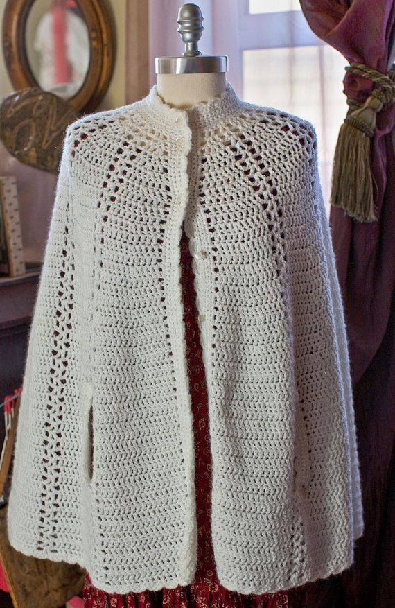 vintage 1960 39 s crochet cape with pearlized by. Black Bedroom Furniture Sets. Home Design Ideas
