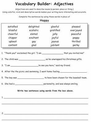 Vocabulary Builder Adjectives Happy | Vocabulary ...