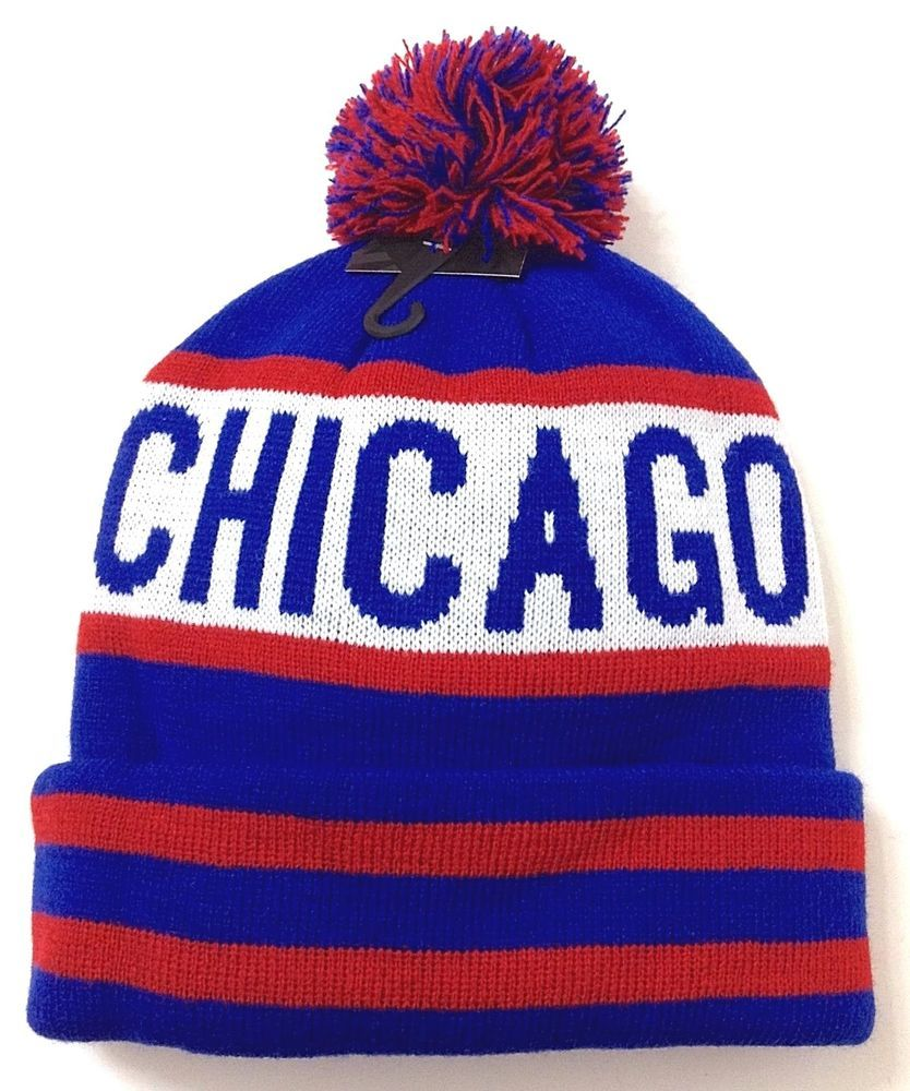 new CHICAGO POM BEANIE Cubs-Colors Winter Knit Ski Hat Striped Retro ... 1c73a35650c7