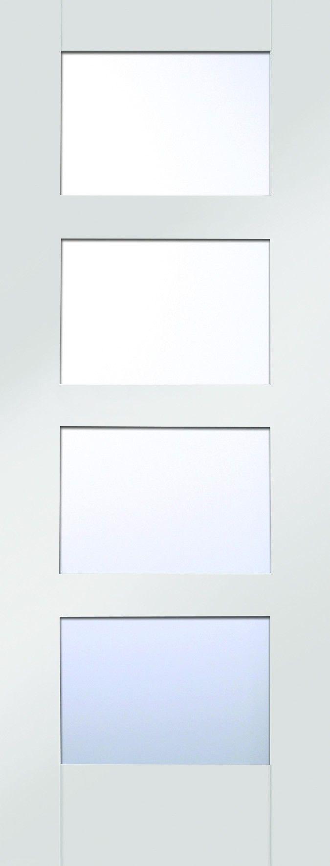 4 panel white interior doors - Shaker 4 Panel White Primed Clear Glazed Internal Door