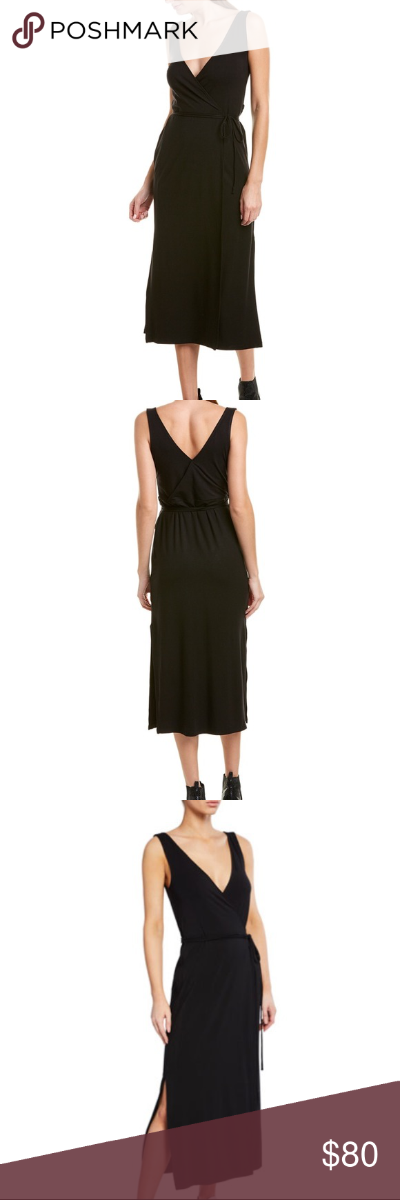 Vince Black Sleeveless Wrap Maxi Dress Nwt Xs In 2020 Maxi Wrap Dress Maxi Dress Casual Chic Style [ 1740 x 580 Pixel ]