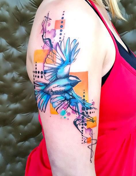 ccf478081 A creative bluebird tattoo idea made in mixed watercolor and abstract  styles.