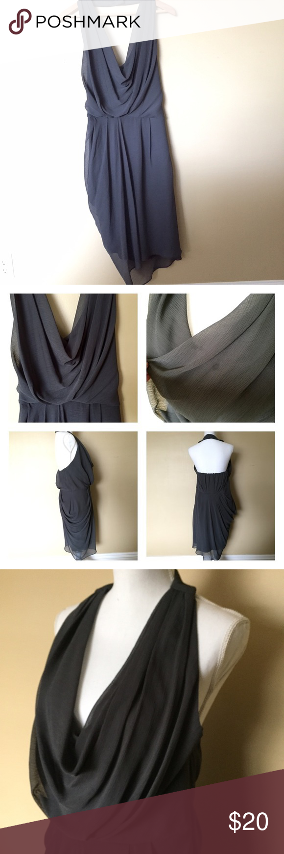 """Cami Halter Dress Cowl neckline.Halter neckline with button closure. Cinched waist. Side zipper clouser.  Fully lined. Approx 37"""" in length. 100% polyester and washable. **small stain on cowl neckline that hides in the folds (see 2nd photos).Only worn once. #makeanoffer Max and Cleo Dresses"""