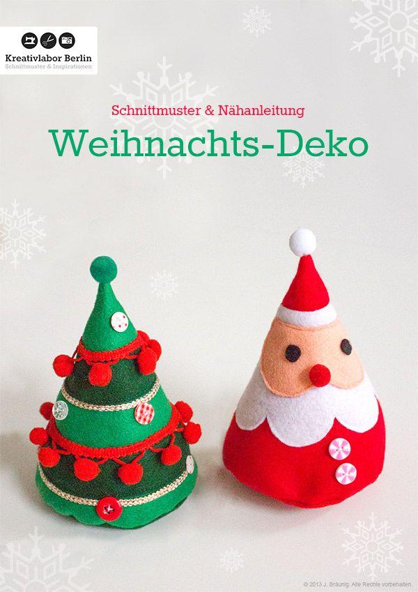 Weihnachtsmann und Weihnachtsbaum aus Filz Kostenloses Schnittmuster ...