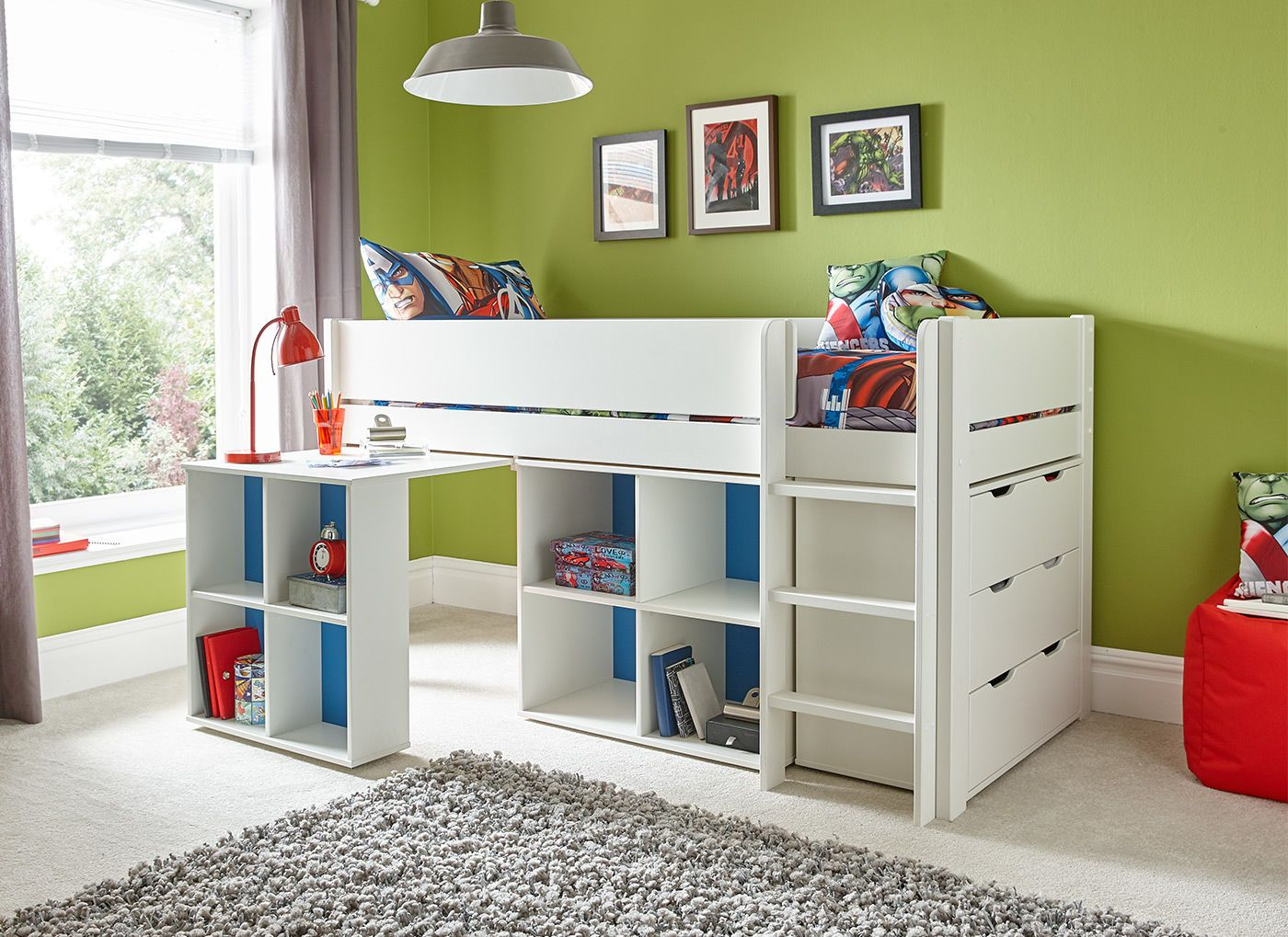 Tinsley Midsleeper with Storage, Desk and Chest of Drawers - White with  Blue / Pink Reversible Panels. Cabin BedsBed IdeasKid ...