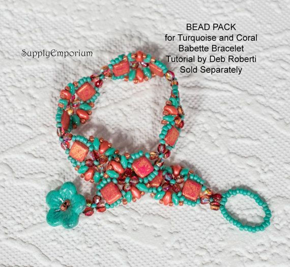 Bead Pack BB68 for TURQUOISE and CORAL Babette Bracelet by Deborah Roberti, Tutorial Sold Separately
