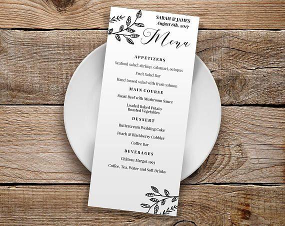 Floral wedding menu template calligraphy editable pdf menu