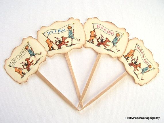 Vintage Winnie the Pooh Cupcake Toppers Baby by PrettyPaperCottage https://www.etsy.com/listing/200532606/vintage-winnie-the-pooh-cupcake-toppers