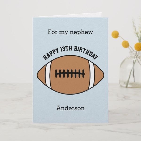 Football 13th Birthday Nephew Card