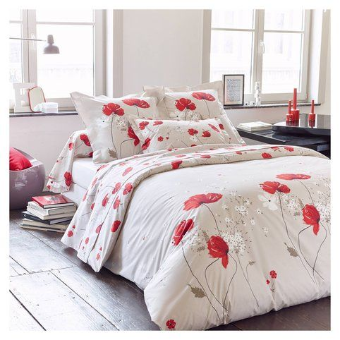 housse de couette percale de coton imprim coquelicots cyb le 3suisses housse de couette. Black Bedroom Furniture Sets. Home Design Ideas