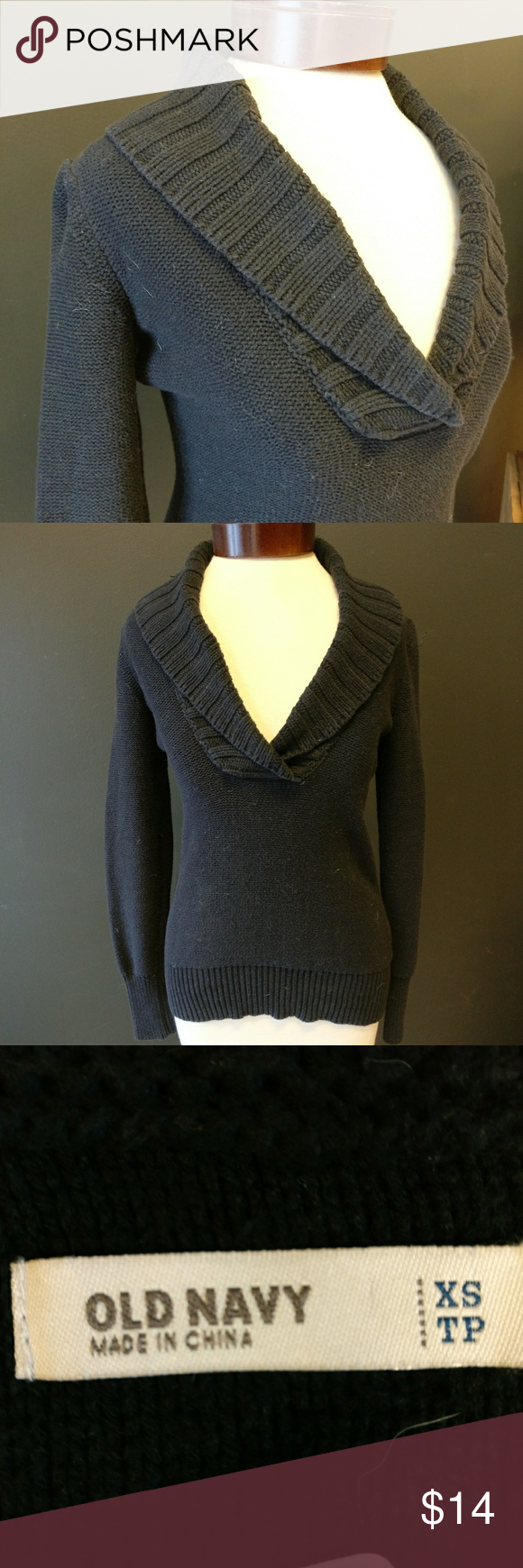 Old Navy Shawl Collar Cotton Blend Black Sweater | Navy shawl ...