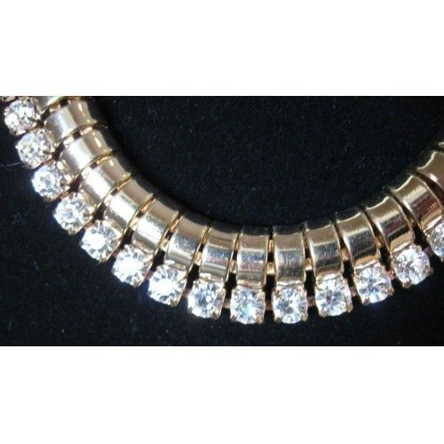 """Runway Luxury Golden Large Austrian Crystal Stones Necklace"""