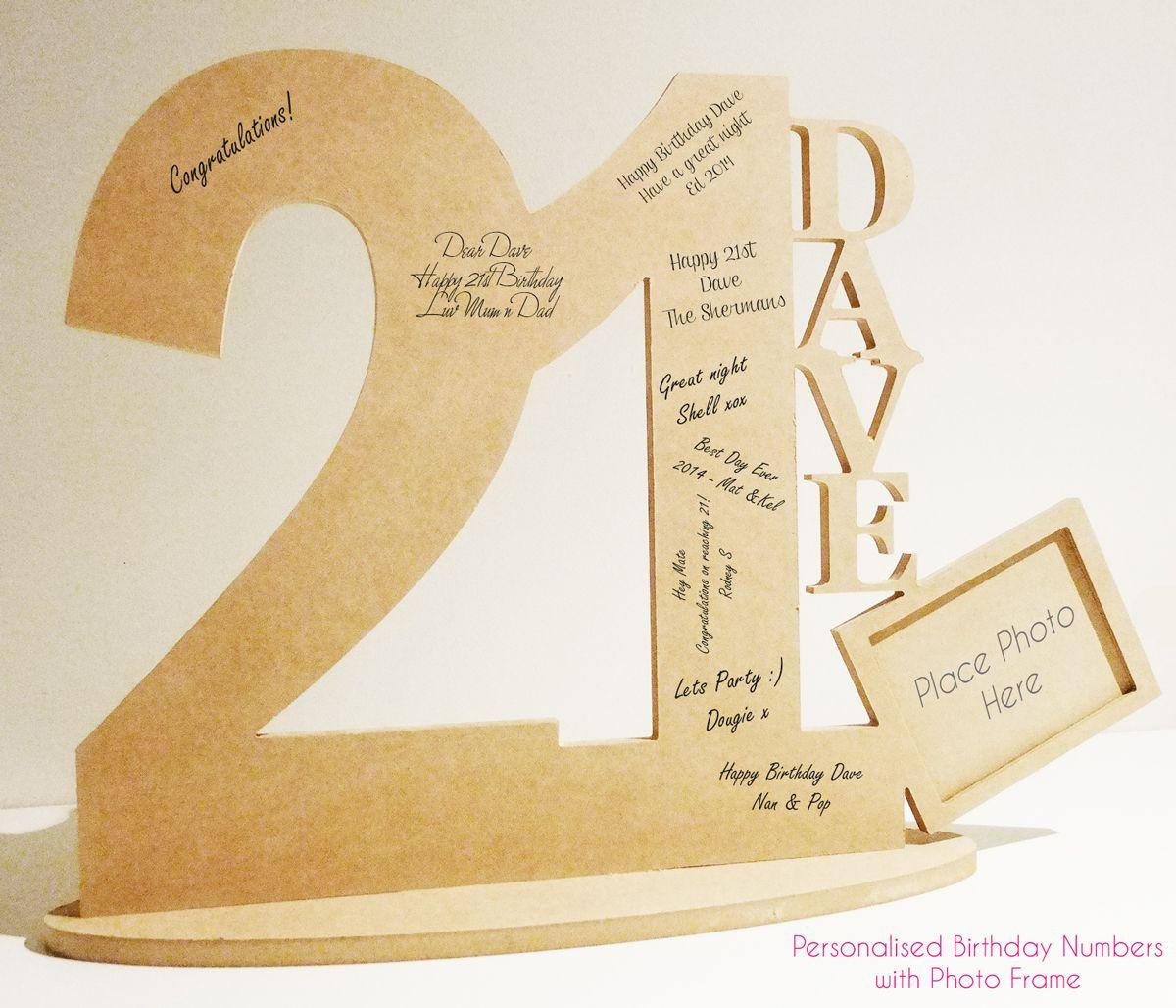 Birhtday Signature Numbers, 21st Birthday Key, MDF Wooden