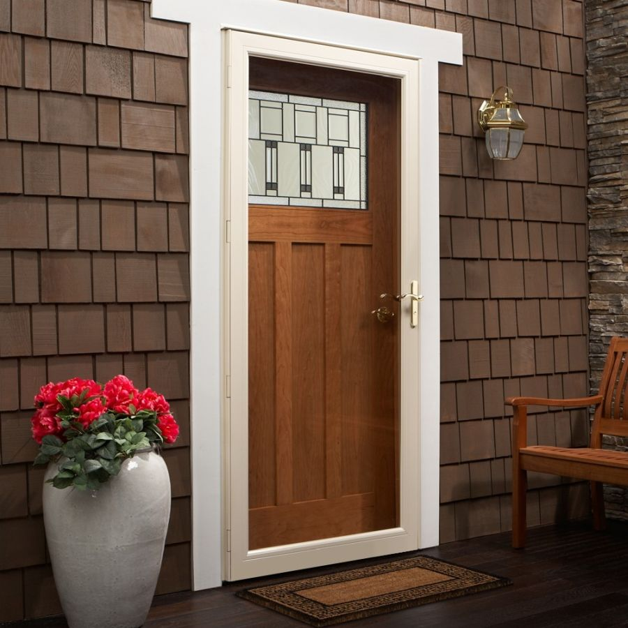 Andersen 36 X 80 Contemporary Fullview Storm Door Color Almond Hardware Brass Aluminum Storm Doors Andersen Storm Doors Full View Storm Door
