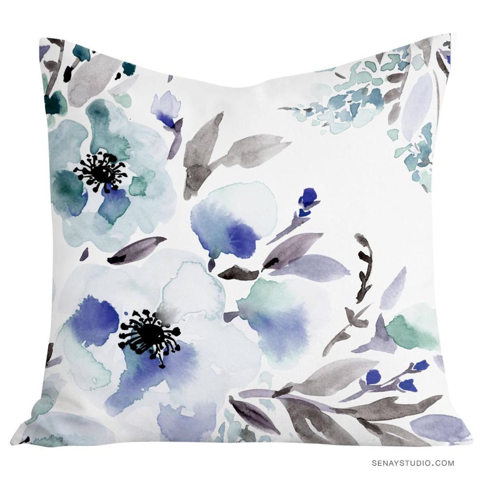 dreamy blue beautiful watercolor floral