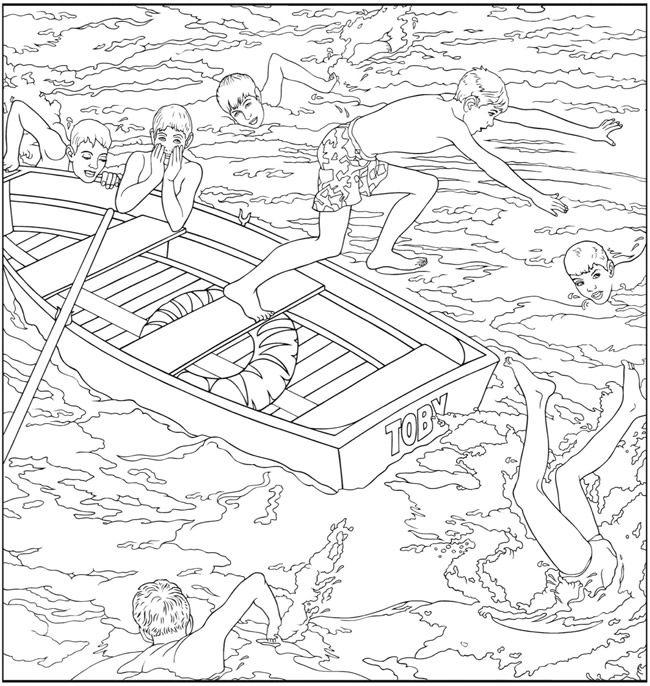 Kleurplaten Over Zwemmen.Kleurplaat Zwemmen Roeiboot Welcome To Dover Publications