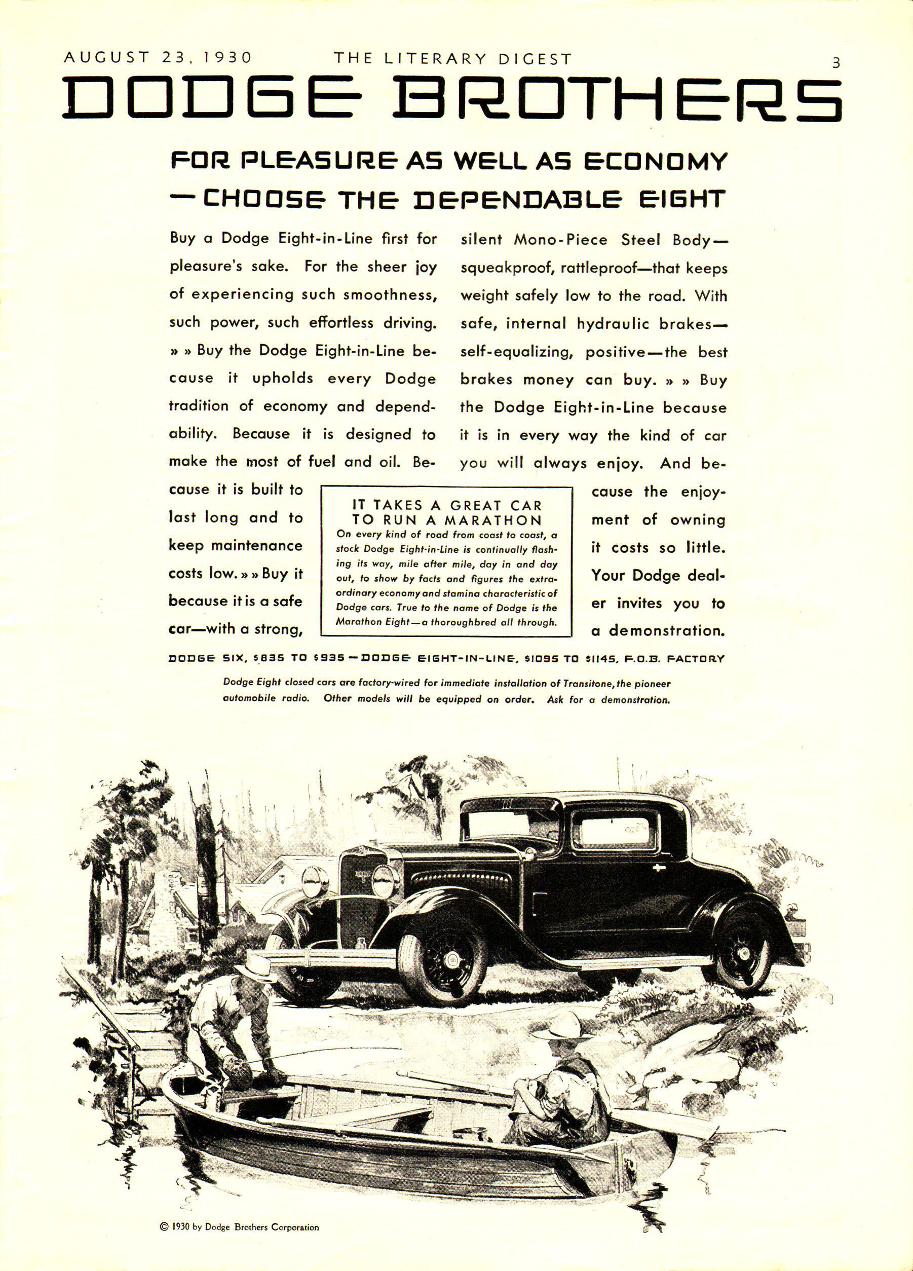 1930 Dodge Brothers' ad: For Pleasure as well as economy - choose the…