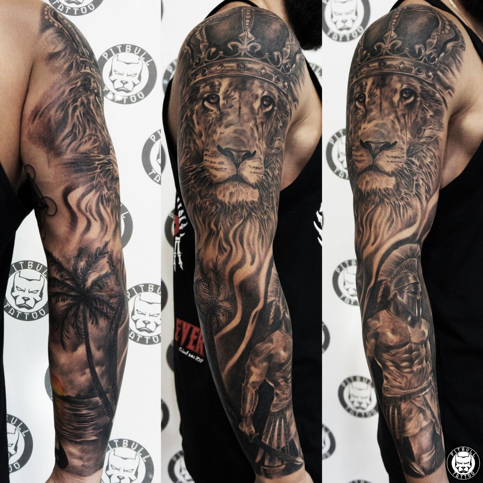 Realistic Full Sleeve Black Grey Style Check Our Website To See More Contact Us Www Pitbulltattoothai Tattoo Sleeve Designs Tattoos For Guys Elbow Tattoos