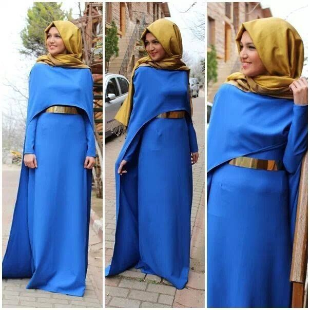 Royal Blue Full Bedroom: Royal Blue Long Muslim Lady Evening Dresses Hijab A Line