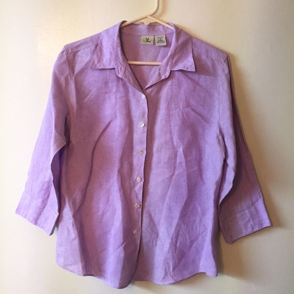100% linen L.L. Bean med. lilac button down shirt Like new condition L.L. Bean Tops Button Down Shirts