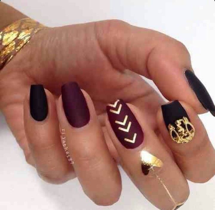 Matte Wine Red & Black Square Tip Acrylic Nails w/ Gold Adherent ...