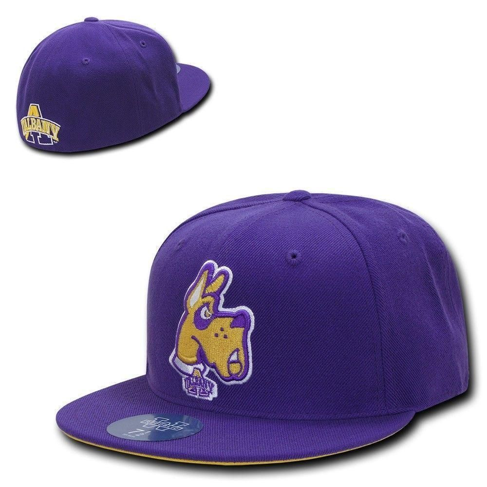 Ncaa University At Albany Great Danes Fitted Caps Hats Purple