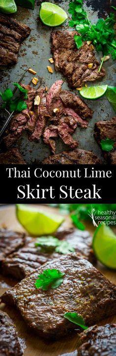 Grilled Thai Coconut Lime Skirt Steak - Healthy Seasonal Recipes #dinner #steak #healthy