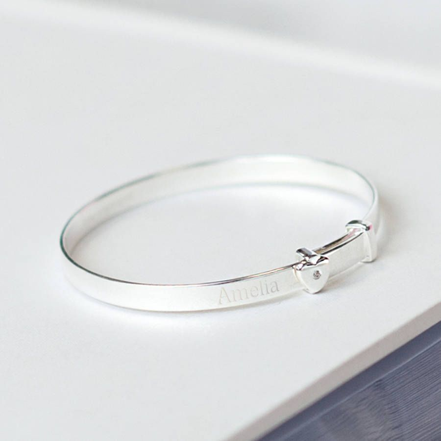 Silver engraved baby bangle with heart products babies and heart