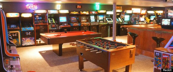 look: man builds giant retro arcade for his son | basements and
