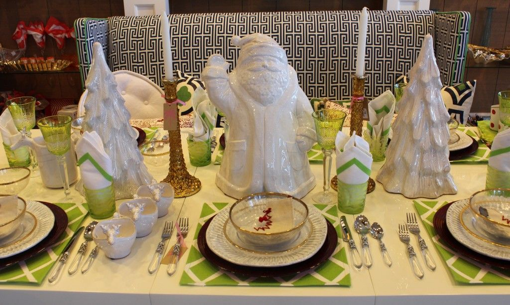 love the white santa  treesplacemats are not typical christmas - christmas table decorations