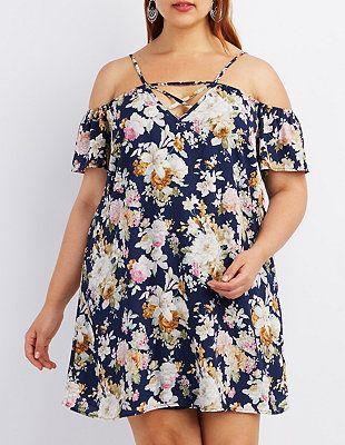 Plus Size Cold Shoulder Shift Dress: Charlotte Russe ...