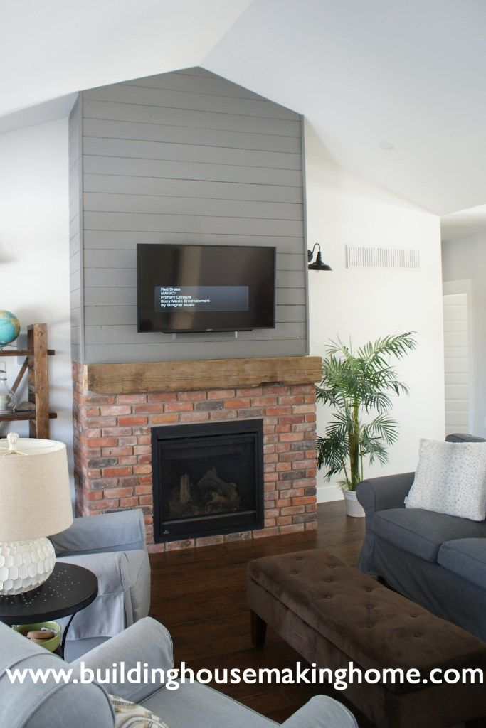 Building House Making Home Shiplap Fireplace Gray Reclaimed Brick Rustic Mantel Shiplap Fireplace Simple Fireplace Fireplace Seating
