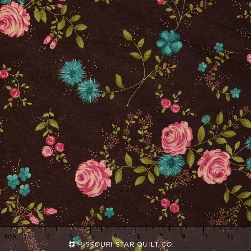 Rambling Rose - Rambling Rose Chocolate Yardage - Sandy Gervais - Moda Fabrics